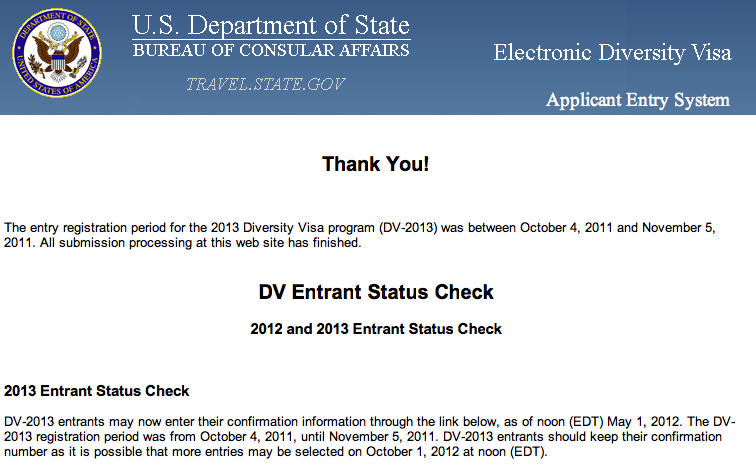 confirmation electronic diversity visa application entry system