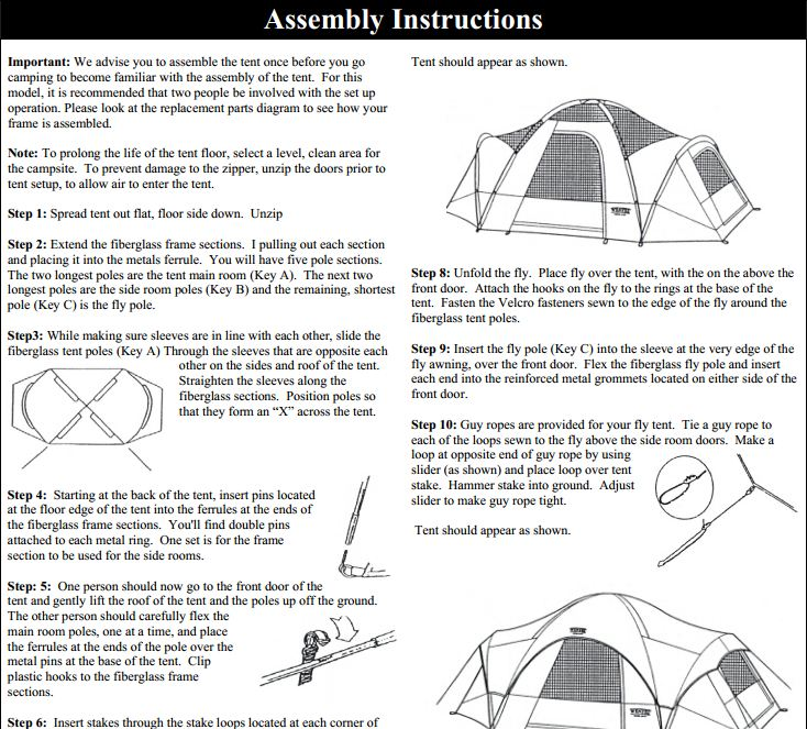 2 room canvas tent instructions