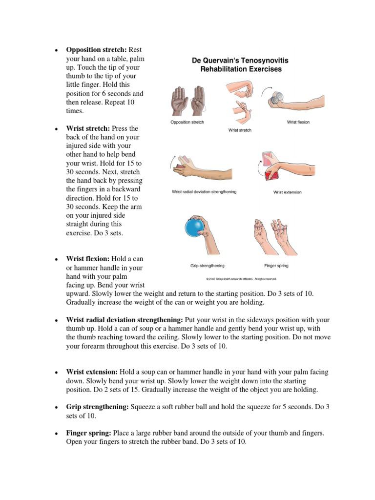 de quervain tenosynovitis exercises pdf