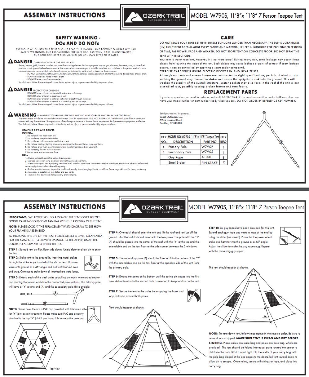 2 room canvas tent instructions