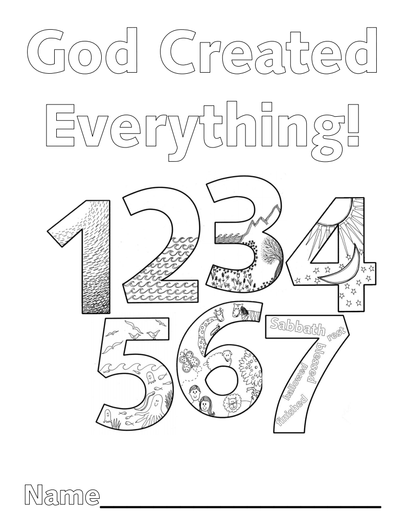 7 days of creation coloring pages pdf