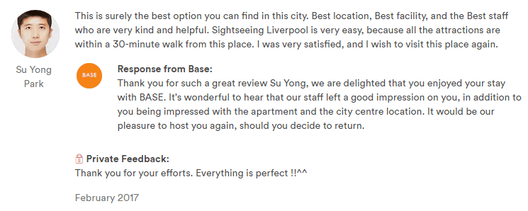 airbnb guest review sample