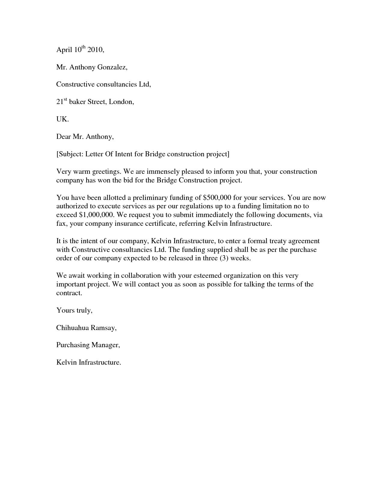 agreement letter sample for building