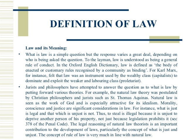 dictionary rule of law