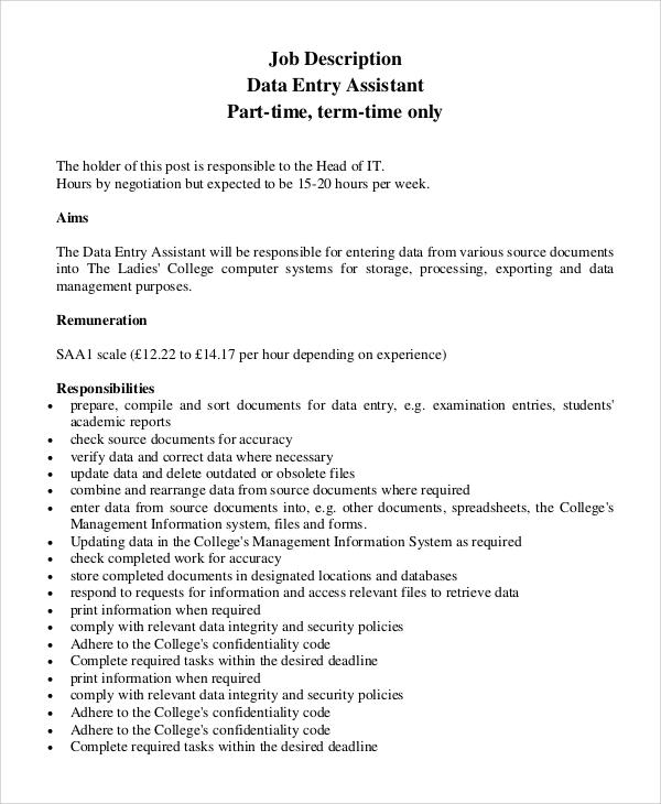 data entry jobs description pdf